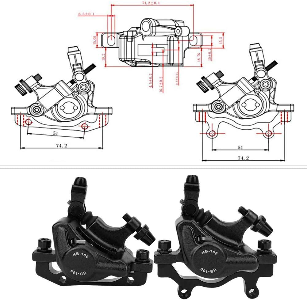 VGEBY HB-100 Bike Disc Brake Set Aluminium Alloy Hydraulic Disc Brake Set Front Rear Compatible with Road Bicycle Mountain Bike