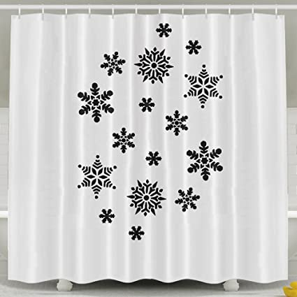 Snowflakes Shower Curtain With Hooks 60x72inches