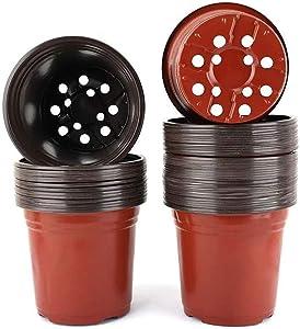50 Pcs 6 Inch Plastic Plants Nursery Pots Flowers Seedlings Starter Pot