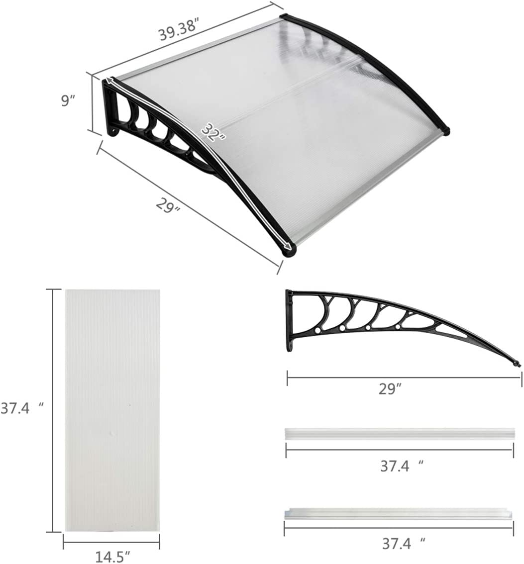 Door Window Awnings Canopy Polycarbonate Sheet Outdoor Windows Eaves Rain Shelter Front Door Porch Sun Rain Protection Cover 39.4 x 31.5 White