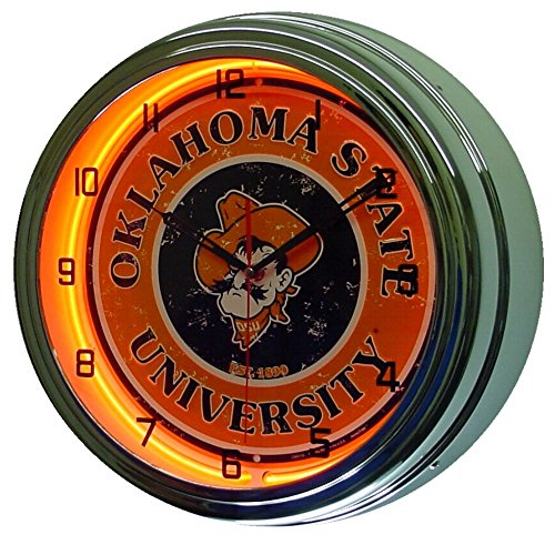 Oklahoma State University Logo Sign Neon Lighted Wall Clock Chrome Orange ()