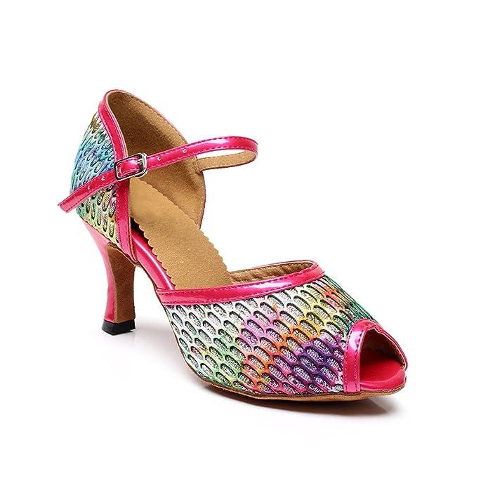 misu - Zapatillas de danza para mujer, color Rojo, talla 36 2/3