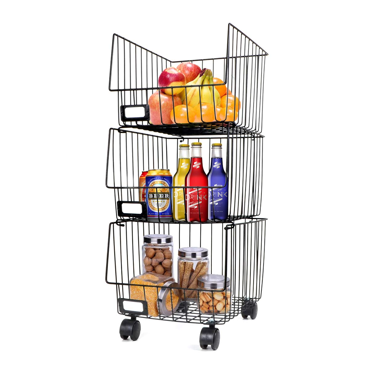 ATCD 3 Tiers Rolling Stackable Storage Organizer Bin with Casters, Portable Large Metal Wire Baskets for Kitchen, Bath, Laundry Room, Garage, Craft Room Black