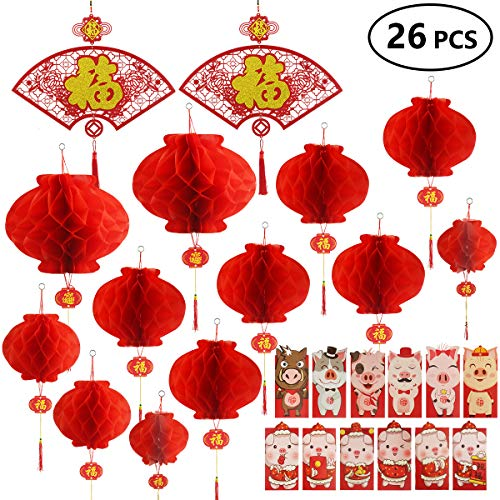 AmazingValueDeal Chinese New Year Decoration - Paper Red Lantern Red Envelopes Hong Bao Chinese Fu Character Paper Window - Spring Festival Party Decor [26 pieces]    ()