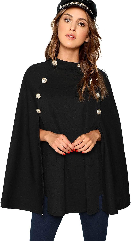 MAKEMECHIC Women's Double Button Cloak Sleeve Elegant Cape Mock Poncho Classy Coat