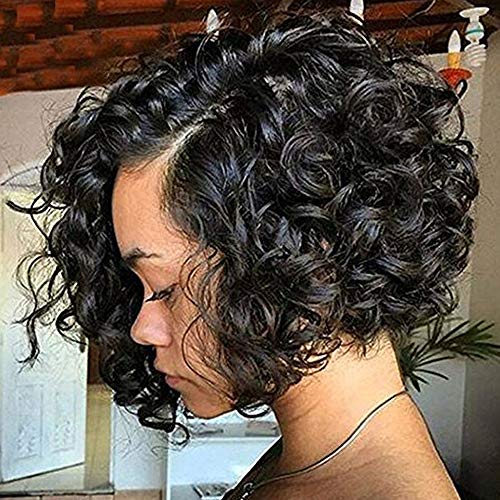 Clearance 11 inch Strongly Scalable Black Wave Bob Curly Brazilian Wigs For Black Women Full Rose Net (1 Wig, -