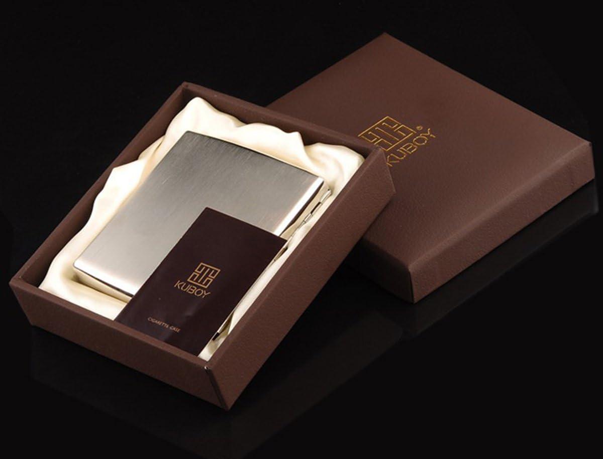 con Confezione Regalo di Marca Scatola Portasigarette in Acciaio Inossidabile di Alta qualit/à Design a Filo Placcato Nichel CaLeQi Contiene 20 Sigarette