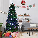 Goplus 6FT Pre-Lit Fiber Optic Artificial Christmas Tree with Mult (Small Image)