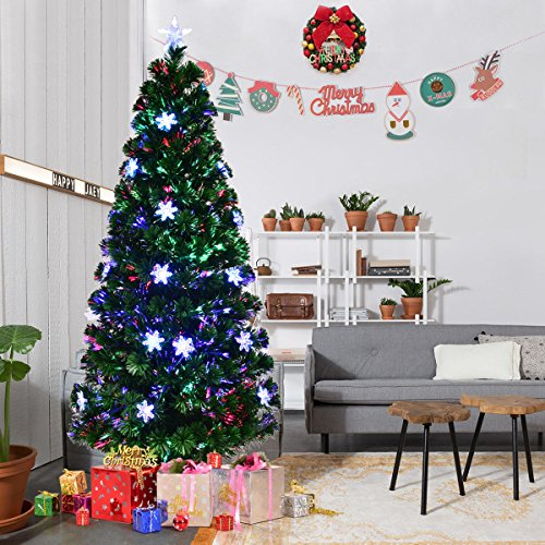Goplus 6FT Pre-Lit Fiber Optic Artificial Christmas Tree with Mult (Large Image)