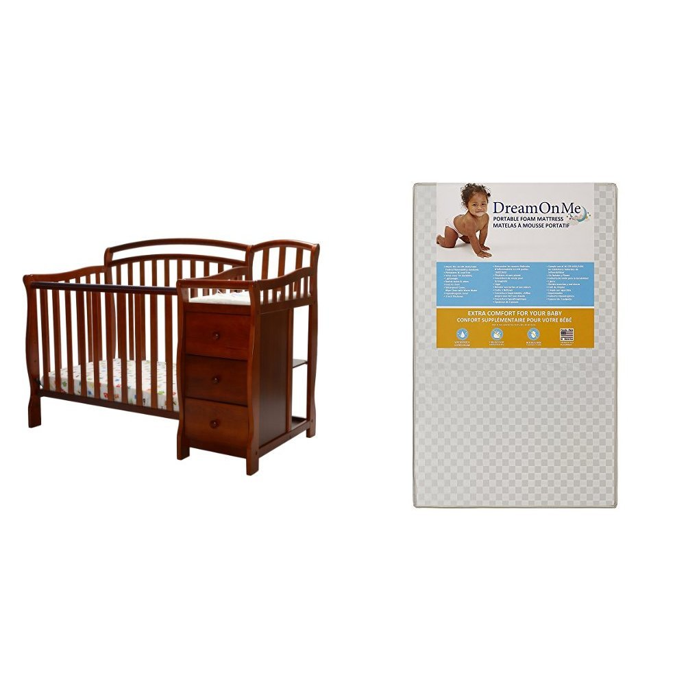 Dream On Me Casco 4 in 1 Mini Crib and Dressing Table Combo with Dream On Me 3 Portable Crib Mattress, White