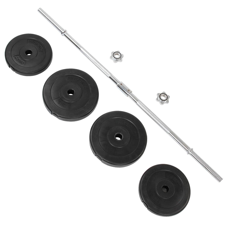 Longue Barre 120 cm avec 4 Disques de Poids Physionics Set dHalt/ère 20 kg