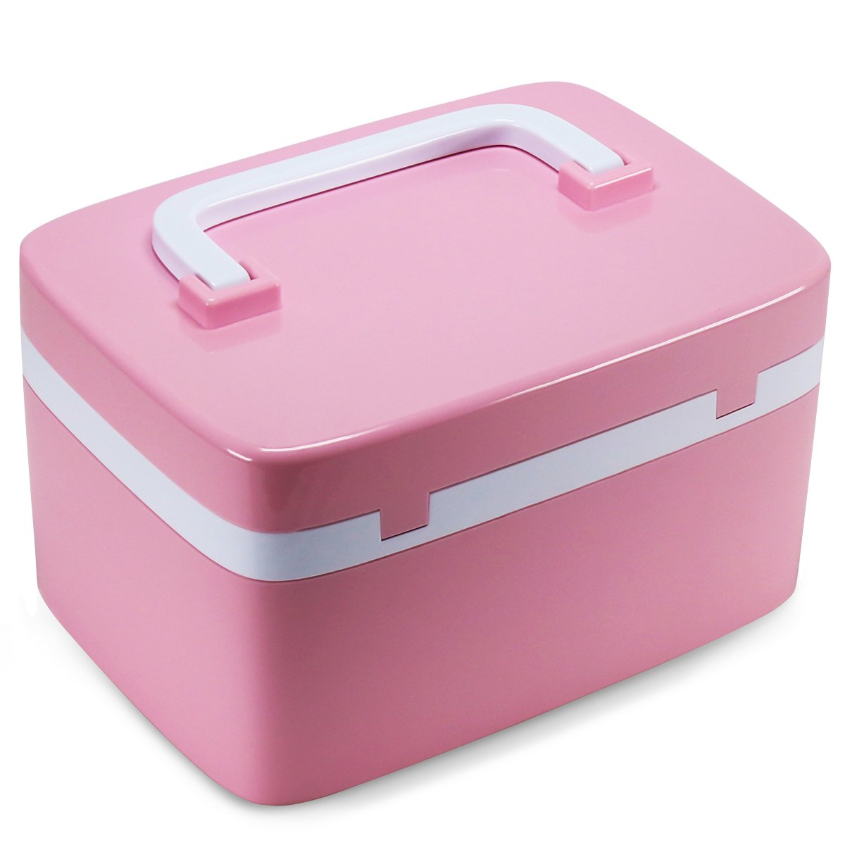 EVERTOP Professional ABS Large Combination Lock Cosmetic Organiser, Makeup Storage Container Travel Beauty Box with 7 Compartment, Pink