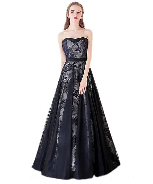 super popular fea82 a2f76 Qiuqier Vestito per Donna senza spalline abito da sera lungo