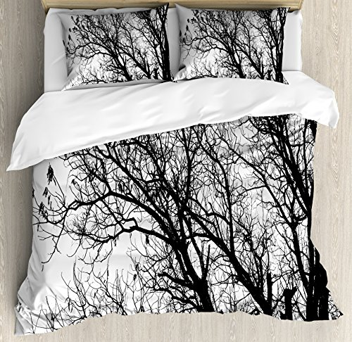 Ambesonne Nature Duvet Cover Set, Leafless Autumn Fall Tree Branches Tops Oak Forest Woodland Season Eco Theme, 3 Piece Bedding Set with Pillow Shams, Queen/Full, Black and White - Leafless Tree Branches