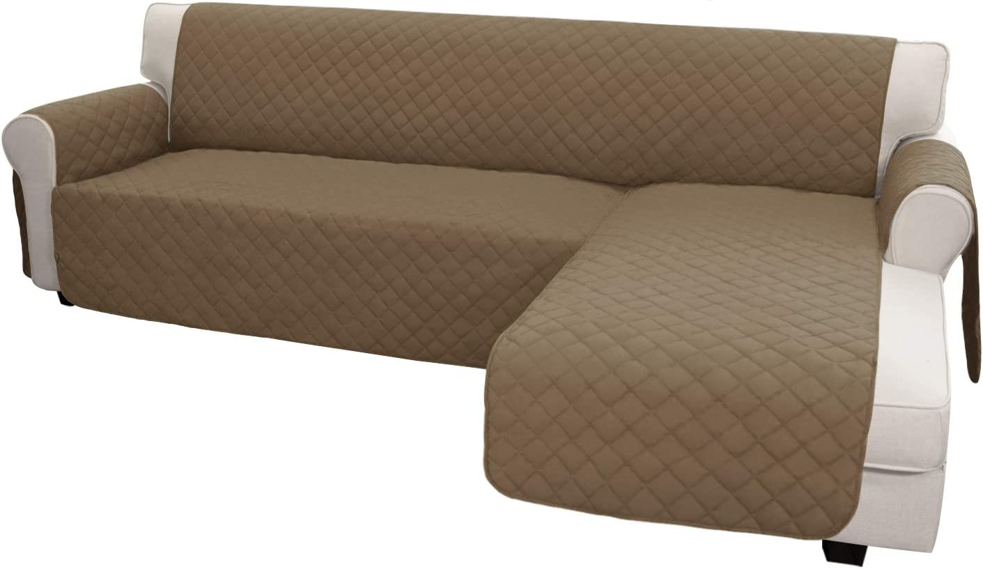 Easy-Going Sofa Slipcover L Shape Sofa Cover Sectional Couch Cover Chaise Lounge Slip Cover Reversible Sofa Cover Furniture Protector Cover for Pets Kids Children Dog(Large,Camel/Camel)