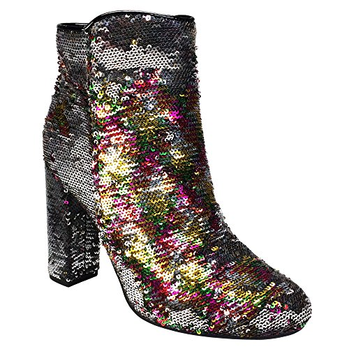 BAMBOO Women's Sequined Round Toe Chunky Heel Bootie, Multi-Color Sequins, 10.0 B (M) US ()