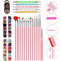 10 Piece Set Acrylic Nail Kit, Nail Powder Glitter Brush Nail Art Tools Kit Set, False Nail Tips Nail Art DIY Decoration…