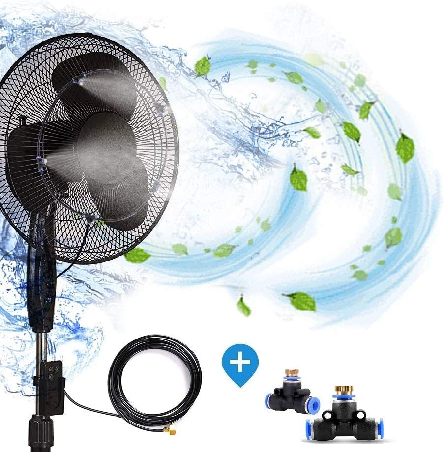 H&G lifestyles Outdoor Fan misting system for patios Water Mister Cooling Patio Connects Any Outdoor Fan 13 FT 6 Nozzles to Convert misting Fan (Fan not Included)