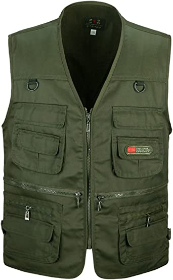 PengGengA Mens Outdoor Vest Multi Pockets Waistcoat for Sightseeing Fishing Camping Traveling Photography Jacket Tops Mesh Gilet