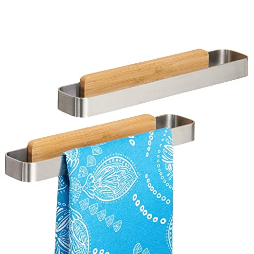 mDesign Toallero sin talado – Perchero adhesivo, ideal para paños de cocina – Montaje sencillo, basta con pegarlo a los muebles o azulejos – Percha de ...
