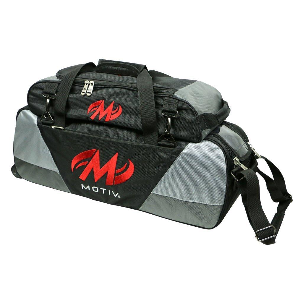 Motiv Ballistix Triple Tote Roller Bowling Bag with Shoe Bag- Black