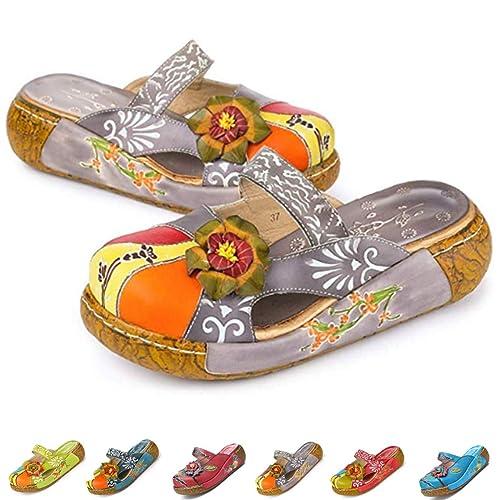 e2599a588e6 gracosy Merceditas de cuña Chanclas Zapatos de Mujer de Cuero de Verano  Plataforma de Confort Zapatos