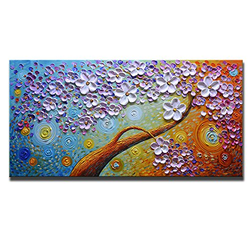 Asdam Art-(100% Hand Painted 3D) Colorful Floral Paintings On Canvas Abstract Art Oil Paintings Wall Art for Living Room Bedroom (20x40inch) by Asdam Art