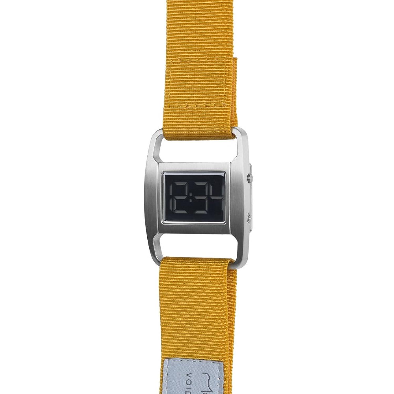 PXR-5 - Digitaluhr von Michael Young fÜr VOID - Style: GebÜrstet Silber & Senffarbenes Nylon Armband