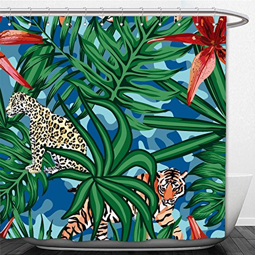 Beshowere Shower Curtain composition of tropical leaf beautiful flower lily wild animals leopard and tiger seamless (Drapes Lily Tiger)