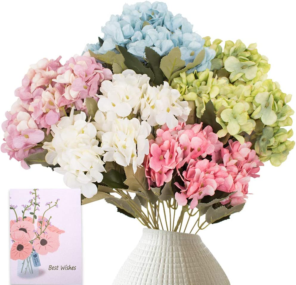 SNAIL GARDEN 30 Heads Artificial Silk Hydrangea Flowers, 5 Pack/Colors Faux Hydrangea Bouquet Colorful Fake Hydrangea Stems with 1 Greeting Card for Home,Office,Wedding and Events Decoration