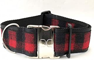 "product image for Diva-Dog 'Buffalo Plaid Sierra Red' Custom Engraved 2"" Extra Wide Dog Collar"