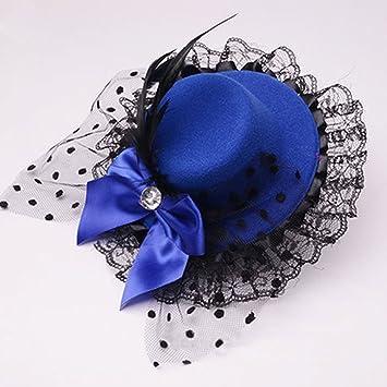 Navy Blue fascinator Mini Clip on Top Hat