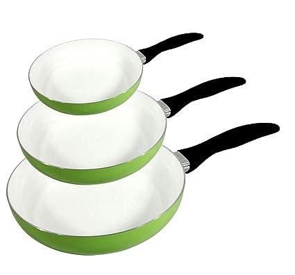 Juego de 3 sartenes de cerámica (apropiadas doble capas – fondo ...