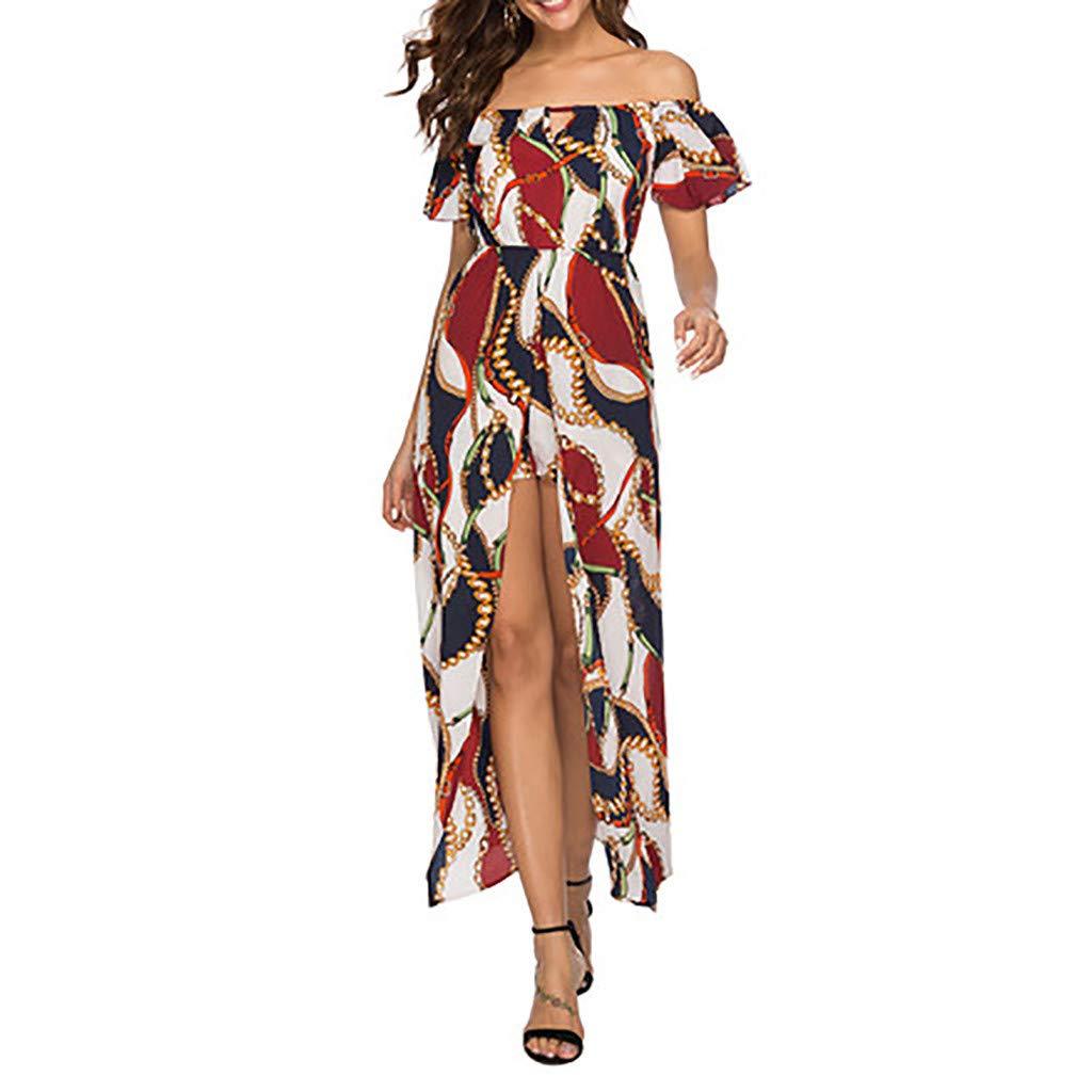 Women Off Shoulder Bohemian Dress,Ladies Summer Flower Print Wrapped Trumpet Sleeve Beach Party Long Maxi Dress by Dacawin_Women Dress