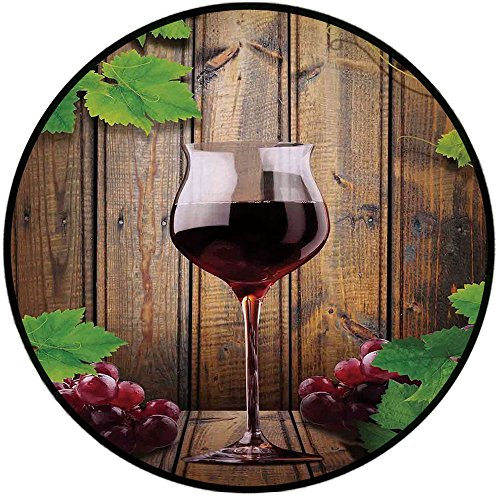 Cheap Printing Round Rug,Modern,Wine Glass Grapes Rustic Wood Kitchenware Home and Cafe Interior Art Design Decorative Mat Non-Slip Soft Entrance Mat Door Floor Rug Area Rug For Chair Living Room,Brown Gree