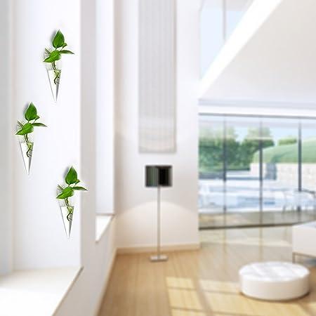Sue Supply - Paquete de 2 unidades de terrarios decorativos para interiores y exteriores, floreros y macetas de cristal para colgar en la pared, A: Amazon.es: Jardín