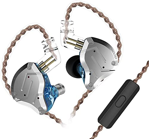 KZ ZS10 Pro in Ear Monitor Headphone, KZ HiFi Earbuds Headphone with 4 Balanced Armatures and 1 Dynamic Drivers for Drummer Musician Blue with Mic