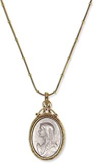 product image for Symbols of Faith 14K Gold-Dipped & Silver-Tone Virgin Mary Medallion Necklace