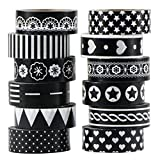 UOOOM 12 Rolls Decorative Washi Tape Masking Tape Adhesive Scrapbooking DIY Craft Gift (12x Black White Design)