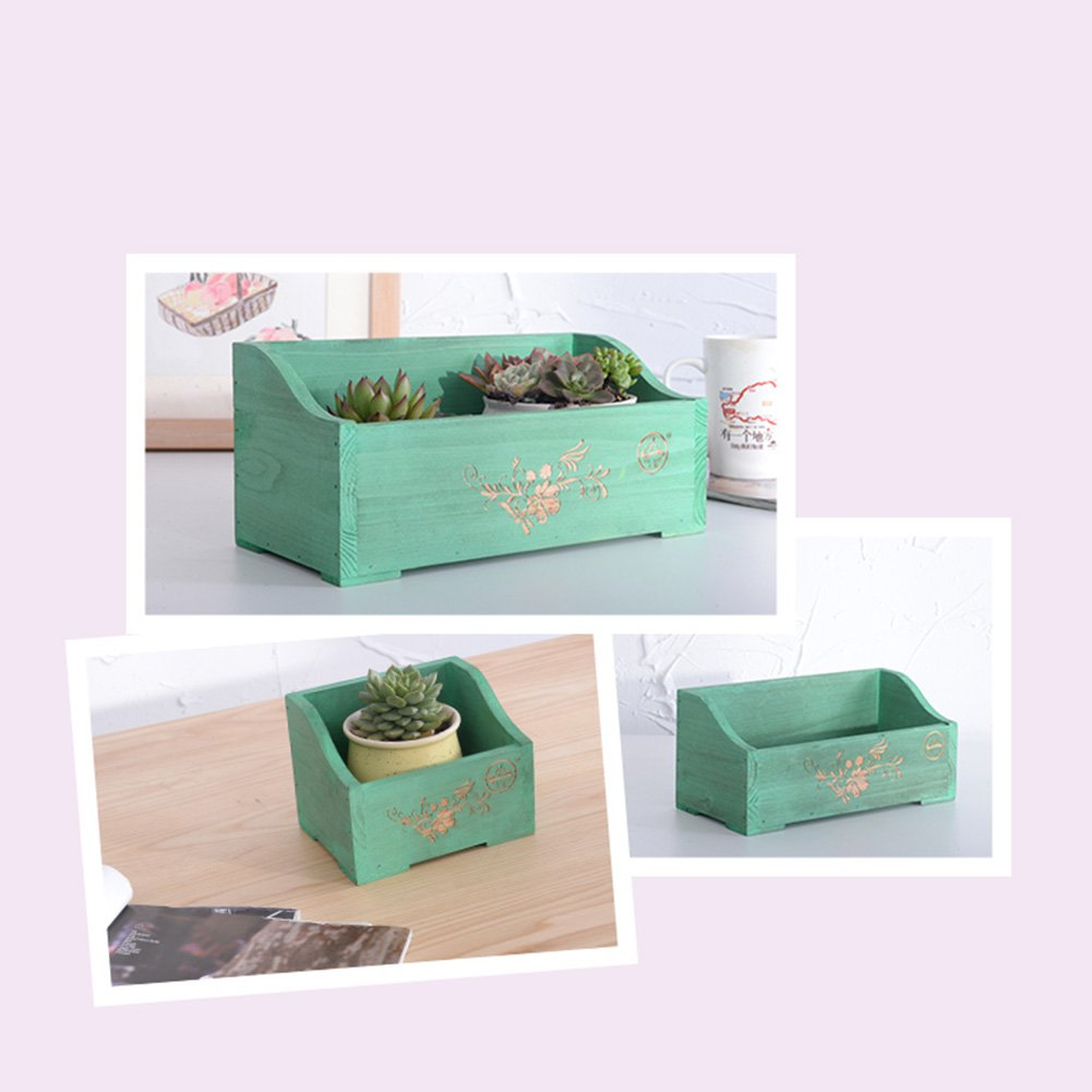 LXLA- Windowsill Wooden Flower Stand Desk Mini Potted Plant Rack Office Desktop Display Shelf Succulents Suspension (Color : Green, Size : 15×12×12cm) by LXLA-Flower Stand (Image #4)