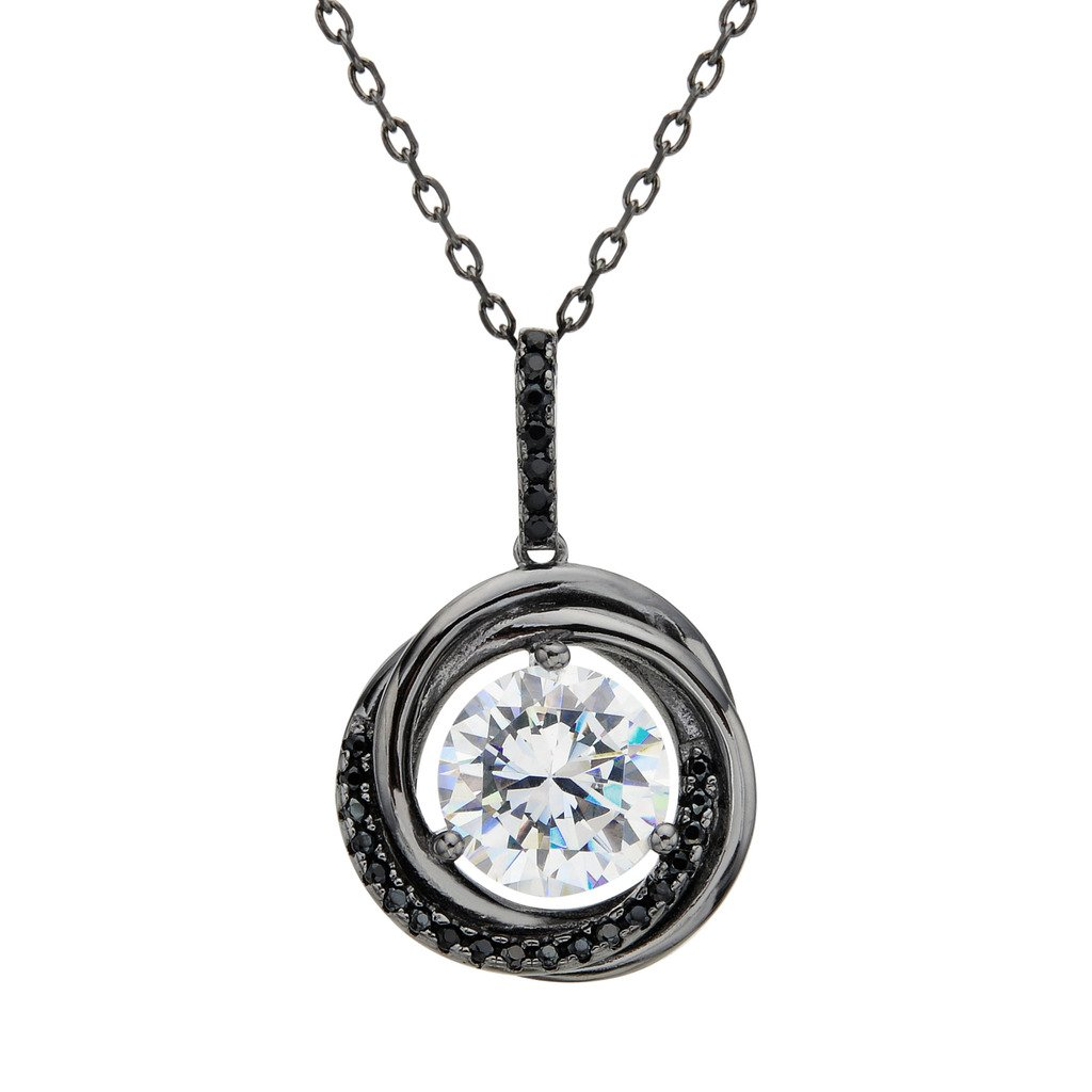 7fe8f6b6b9c Amazon.com: EVER FAITH 925 Sterling Silver CZ Three Circles Round Pendant  Necklace Clear - Black-Tone: Jewelry