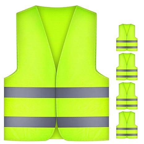Waschbar Thinkcase 5 St/ück Warnschutzweste mit hoher Sichtbarkeit Gut Sichtbar und 360 Grad Reflektierende Streifen Polyester Warnwesten Neongelb