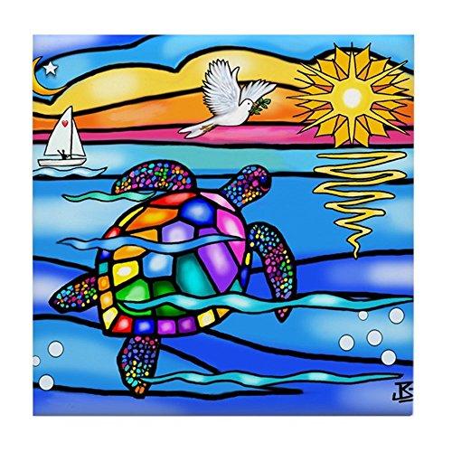 - CafePress - Sea Turtle #8 - Tile Coaster, Drink Coaster, Small Trivet