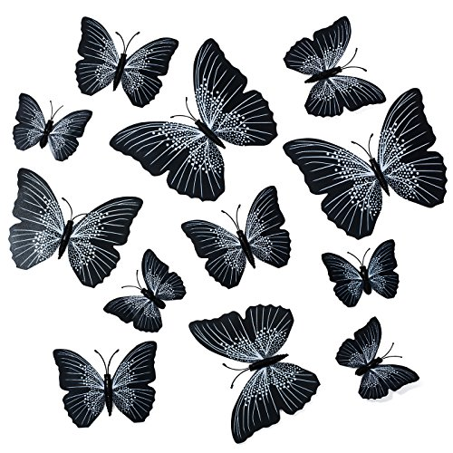 Butterfly Wall Decals - Butterfly Wall Stickers - 3D Butterfly Wall Stickers - Butterfly Wall Art - Wall Decals for Bedroom - Teen Room Decor - Black Butterfly Wall Stickers (12 pcs) by Dooboe Teen Bedroom Walls