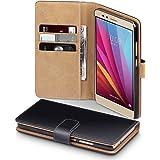 Huawei Honor 5X Funda Cartera con tapa para billetera y compartimento para dinero - Negro con el interior tostado