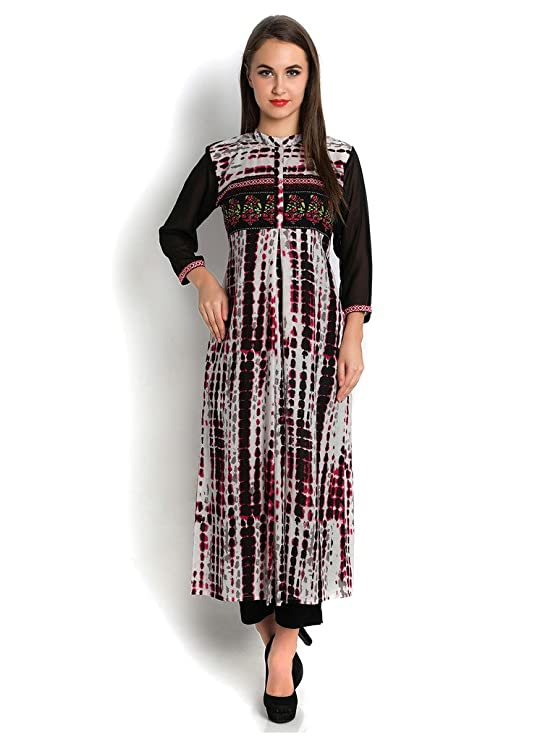 Indibelle Multicolour cotton long shibori printed kurta Women's Kurtas & Kurtis at amazon