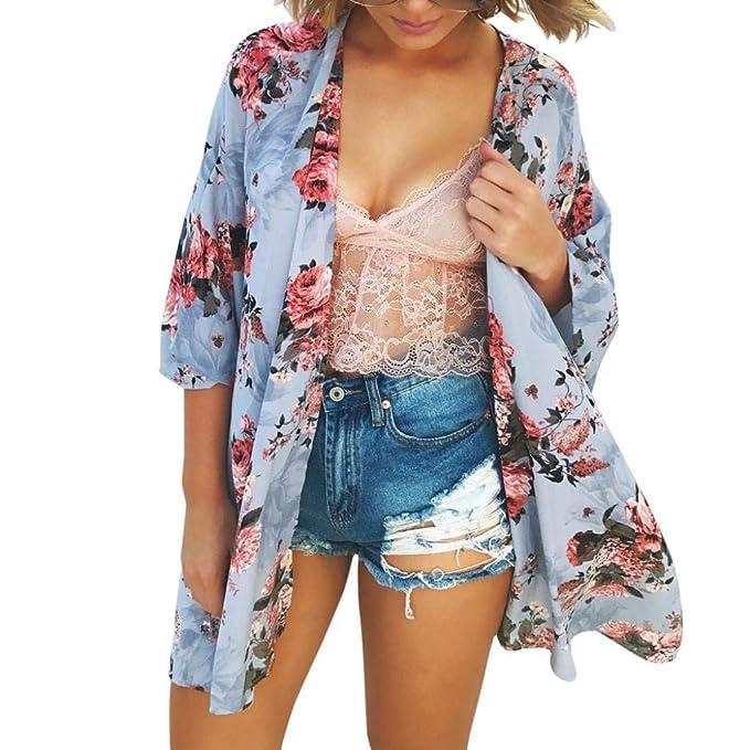 HX fashion Camisas Mujer Elegante Casual Cubrir Tops Primavera Flor Estampadas Chiffon Basic Medias Mangas Boho Outerwear Beach Chaqueta Ropa: Amazon.es: ...