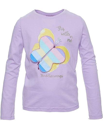 REVIEW Kids Mädchen Langarmshirt mit interaktivem Schmetterling in lilac