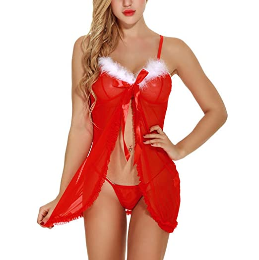 9764ffe3037 Heartell Women Sexy Red Babydoll Lace Lingerie Christmas See-Through Sling  Nightwear Nightgown Suit (