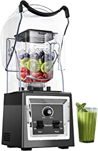 Wantjoin Professional Blender Commercial Soundproof Quiet blender Removable shield for Crushing ice,smoothie,puree,sauce,salsa. Blender for kitchen (black)